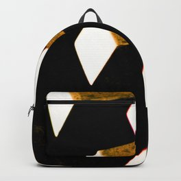 Rose Gold Bronze Abstract Geometric Mechanical Gears Backpack