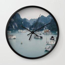 The Boats and Limestone Cliffs of Halong Bay, Vietnam Wall Clock