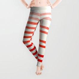 Mid Century, Modern, Minimalist, Circle, Round Photo, Vermillion Watercolor, Staggered Stripe, Patte Leggings