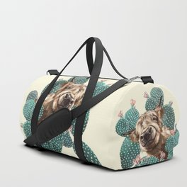 Sneaky Highland Cow and Cactus in yellow Duffle Bag