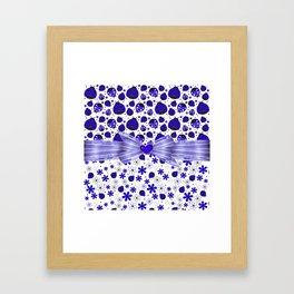 Fancy Blue Ladybugs and Flowers Framed Art Print