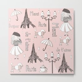 Paris Girl - Pink Metal Print
