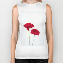 Two Red Poppies Biker Tank