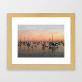 Sunset and Sailboats Framed Art Print