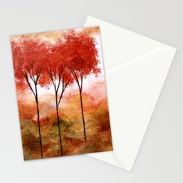 Burning Promise, Red Trees Landscape Art Stationery Cards