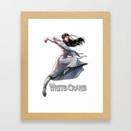White Crane Comic Kung Fu Girl tshirt cute martial arts gift Framed Art Print