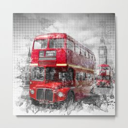 Graphic Art LONDON WESTMINSTER Red Buses Metal Print