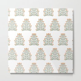 Indian Floral Motif Pattern - Marigold Metal Print