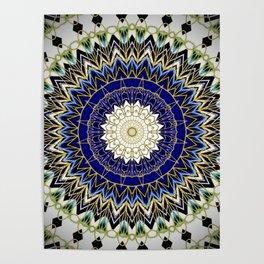 Bohemian Bright Blue and Gold Mandala Poster