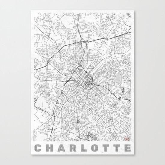 Charlotte Map Line Canvas Print