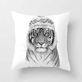Siberian tiger (b&w) Throw Pillow