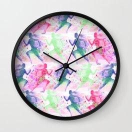 Watercolor women runner pattern Wall Clock