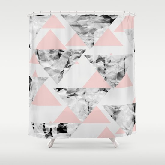 Pink Triangles Shower Curtain