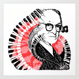 Pop Art Pugliese with Piano Keys and Carnation Art Print