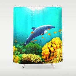Dolphin in Water Shower Curtain