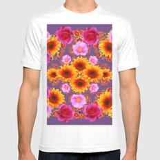 Red Pink Roses Golden Sunflowers Puce Art MEDIUM Mens Fitted Tee White