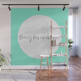 Beauty Lies In The Eyes - Gray &  Mint Wall Mural
