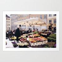 Copenhagen Street Flower Cart Art Print