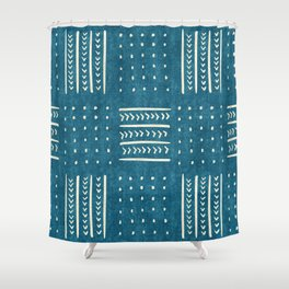 Mud Cloth Patchwork in Teal Shower Curtain