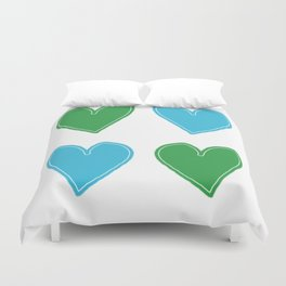 Blue and Green Hearts - 4 hearts Duvet Cover