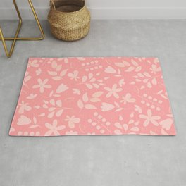 Botanical Floral and Leaves on Peach Background Rug