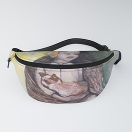 Angel with cat watercolor Fanny Pack