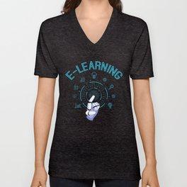 Funny E-Learning Teacher | Gift |  Unisex V-Neck