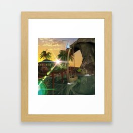 Beautiful latern boat at the jetty at night Framed Art Print
