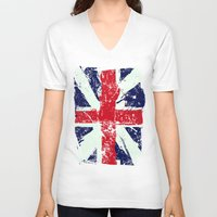 union jack V-neck T-shirts featuring Union Jack  by UrbanCandy