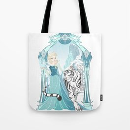 Frozen White Tiger Tote Bag