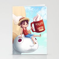 luffy Stationery Cards featuring Straw Hat Luffy by Amber Graves