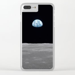 Earth rise over the Moon Clear iPhone Case