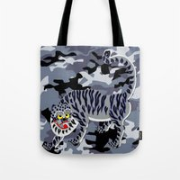 korean Tote Bags featuring Camouflaged Korean Tiger by Hapa Mandu