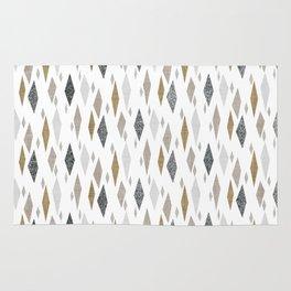 Danish Diamond Mid-Century Geometric Print Tan Rug