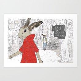 A Wolf met her Art Print