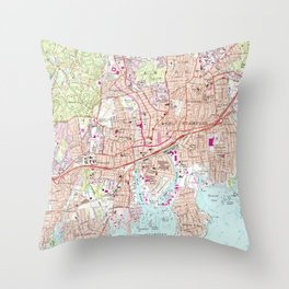 Stamford Connecticut Map (1987) Throw Pillow