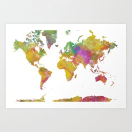 Map of the World - Watercolor 5 Art Print