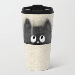 Cute Fluffy Black cat peaking out Travel Mug