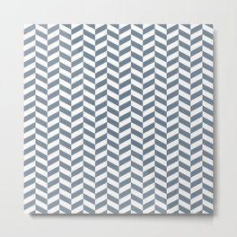 Slate Gray Herringbone Pattern Metal Print