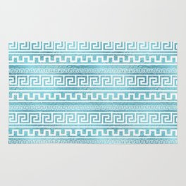 Gentle Blue Greek Meander Pattern on glass Rug