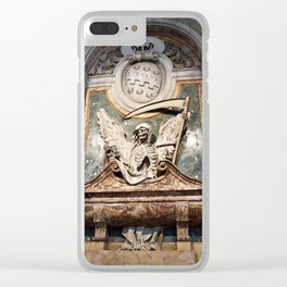 Skeleton statue as symbol of plague and death in church Clear iPhone Case