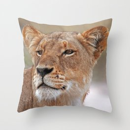 Head of the Lioness - Africa wildlife Throw Pillow
