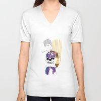 stripe V-neck T-shirts featuring Stripe by freakienfluffie