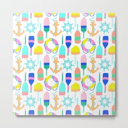 Nautical Notions in White + Candy Rainbow Metal Print