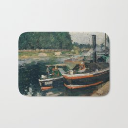 Camille Pissarro - Barges at Pontoise (1876) Bath Mat