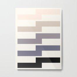 Grey Taupe Lightning Bolt Zig Zag Geometric Pattern Minimalist Zen Art Metal Print