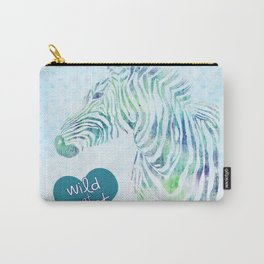 Zebra Watercolor Wild At Heart Blue Teal Turquoise Carry-All Pouch