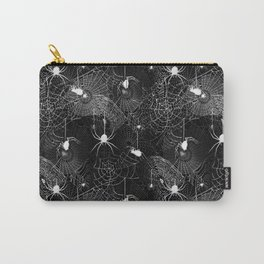Black and White Spider Webs Pattern Carry-All Pouch