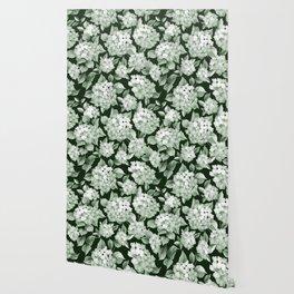 Green Hydrangea Larger Pattern Wallpaper