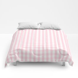 Light Soft Pastel Pink and White Gingham Check Plaid Comforters